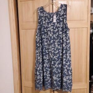 LOFT Denim Blue and White Soft Cotton Dress